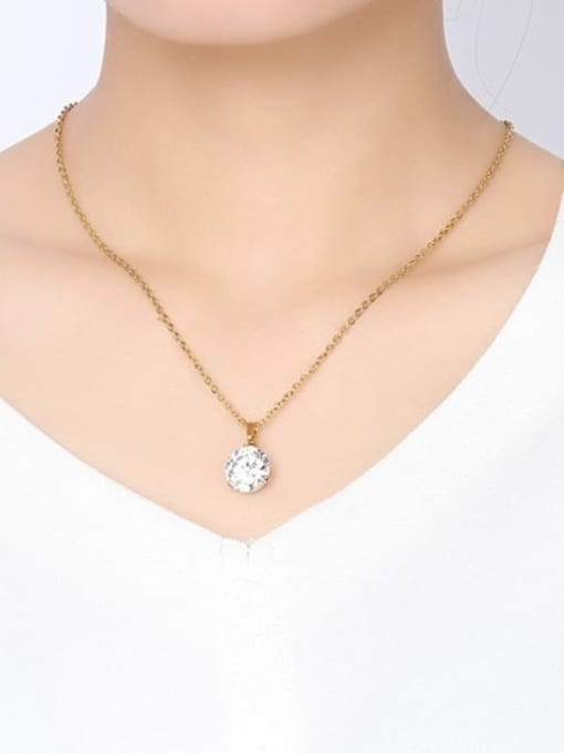 CONG Stainless steel Cubic Zirconia Minimalist Round  Earring and Necklace Set 4
