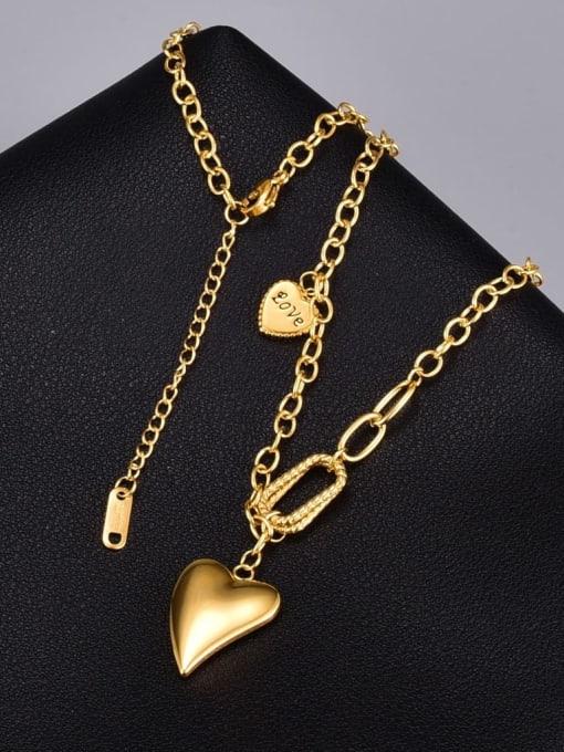 A TEEM Titanium Steel Smooth Heart Vintage Necklace 0