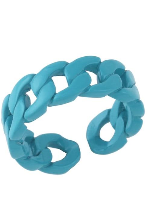 Dark blue Brass Geometric Hip Hop Band Ring
