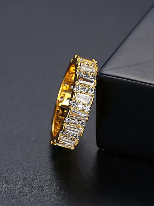 18k T17C06 Brass Cubic Zirconia Geometric Minimalist Band Ring