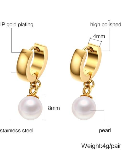 CONG Brass Imitation Pearl Geometric Minimalist Huggie Earring 2