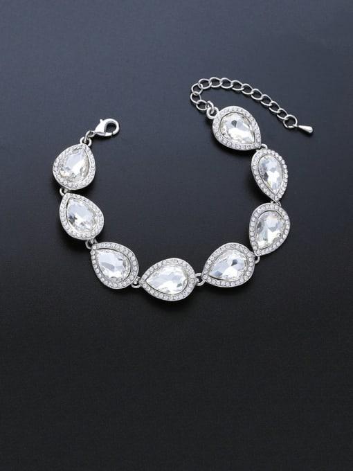 CC Brass Glass Stone Water Drop Luxury Bracelet