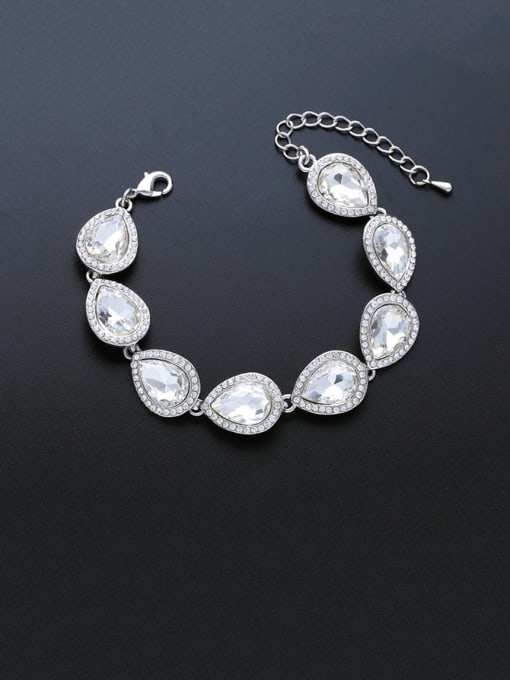 silvery Brass Glass Stone Water Drop Luxury Bracelet