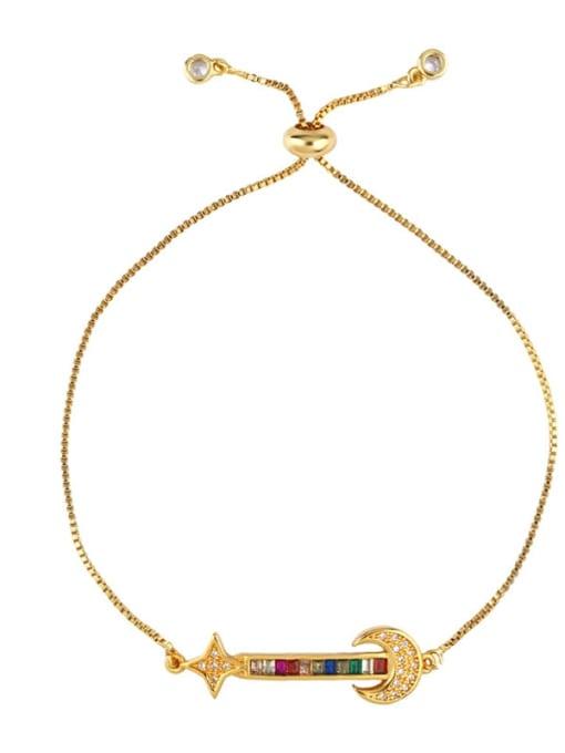 CC Brass Cubic Zirconia Crown Ethnic Adjustable Bracelet