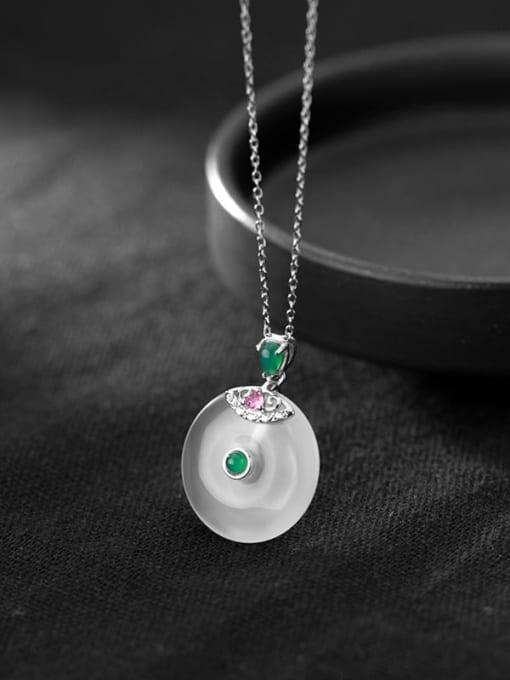 Rosh 925 Sterling Silver Opal Geometric Minimalist Necklace