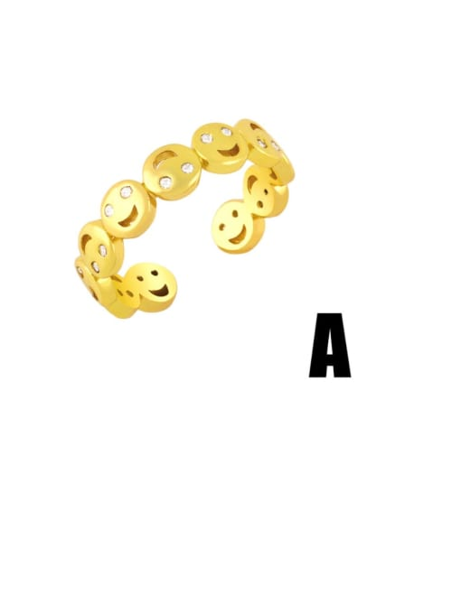 A Brass Cubic Zirconia Smiley Vintage Band Ring