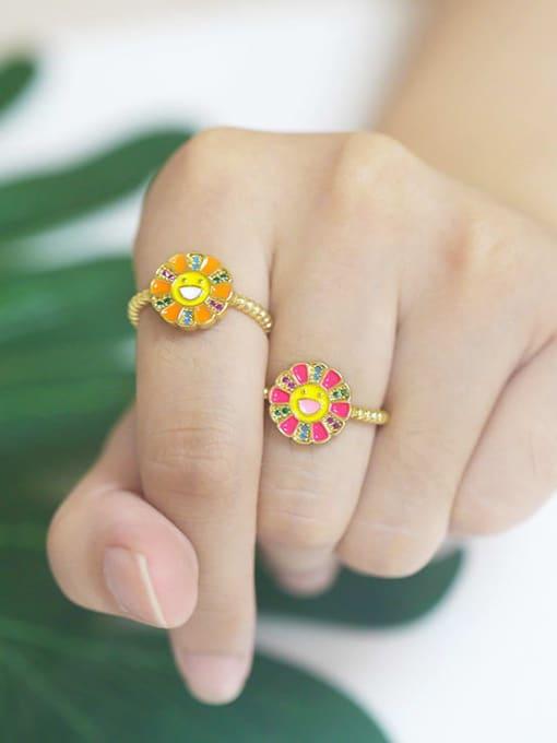 CC Brass Enamel Smiley Flower Minimalist Band Ring 1