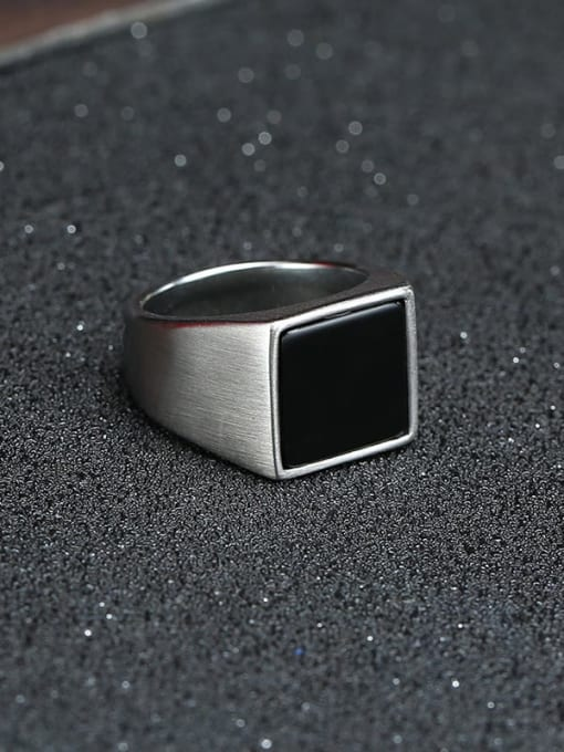 CONG Stainless steel Acrylic Geometric Vintage Band Ring 3
