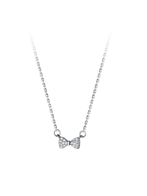 Rosh 925 Sterling Silver Cubic Zirconia Bowknot Minimalist Necklace