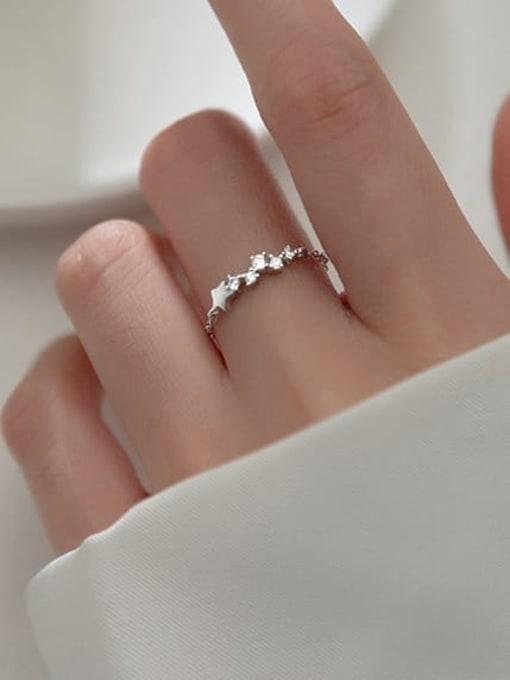 Rosh 925 Sterling Silver Cubic Zirconia Star Minimalist Band Ring 2