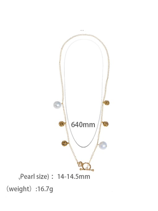 golden Brass Freshwater Pearl Coin Vintage Long Strand Necklace