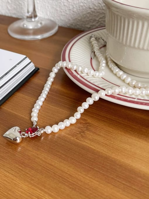 Boomer Cat 925 Sterling Silver Imitation Pearl Irregular Vintage Necklace