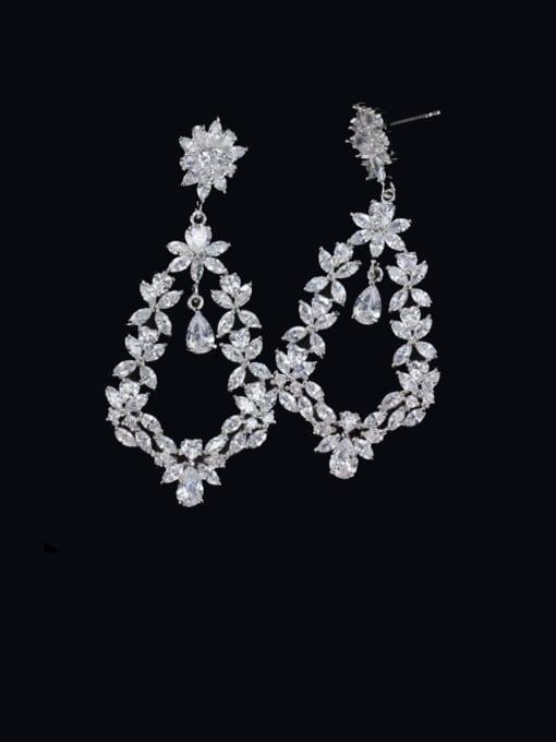 L.WIN Brass Cubic Zirconia Flower Luxury Cluster Earring