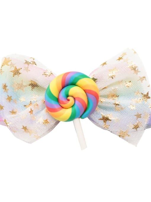10 rainbow lollipops Alloy  Fabric Cute Bowknot Multi Color Hair Barrette