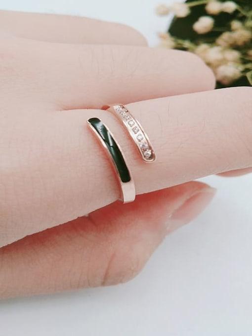 MIYA Titanium Steel Enamel Rhinestone Geometric Minimalist Band Ring 0