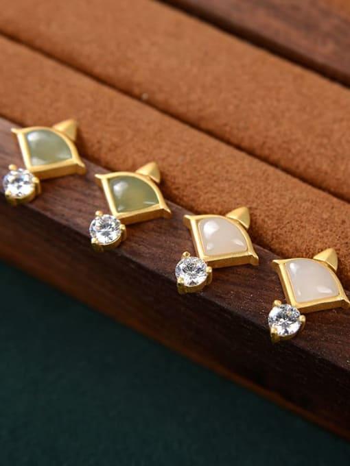 DEER 925 Sterling Silver Jade Triangle Vintage Stud Earring 3
