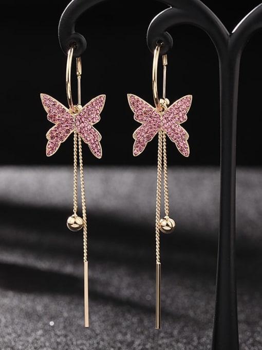 Gold Pink Diamond Brass Cubic Zirconia Butterfly Trend Threader Earring