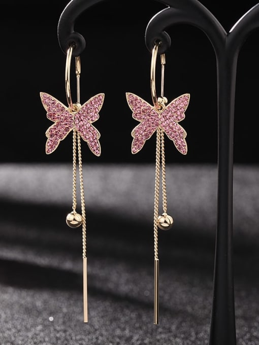 Luxu Brass Cubic Zirconia Butterfly Trend Threader Earring