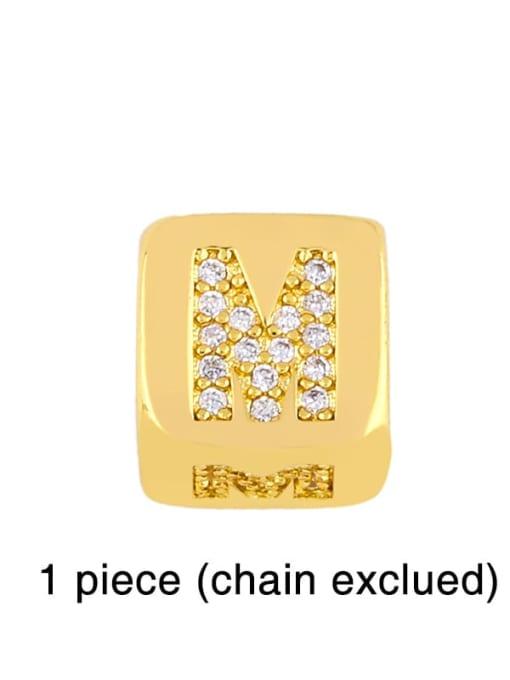 M Brass Cubic Zirconia square Letter Minimalist Adjustable Bracelet