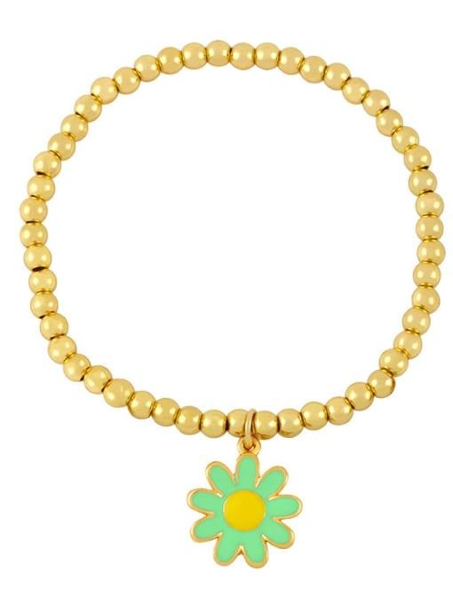 E (green flower) Brass Enamel Flower Vintage Beaded Bracelet