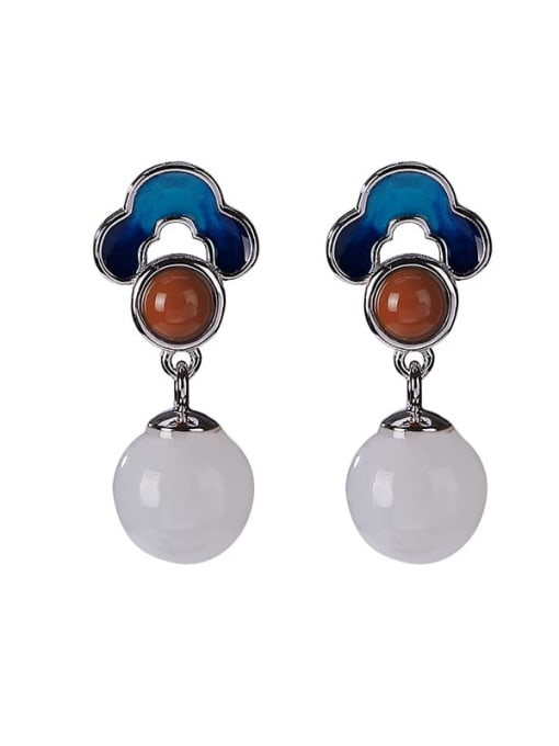 DEER 925 Sterling Silver Jade Enamel Flower Vintage Drop Earring 0