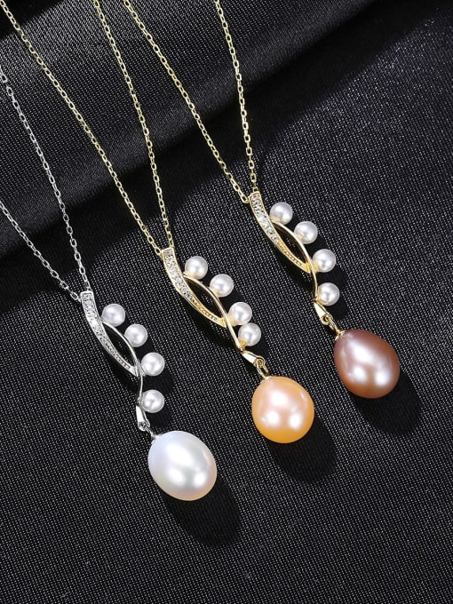 CCUI 925 Sterling Silver Freshwater Pearl Water Drop Minimalist Necklace 2