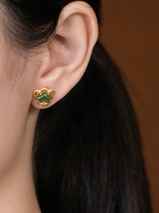 DEER 925 Sterling Silver Jade Irregular Ethnic Stud Earring 1