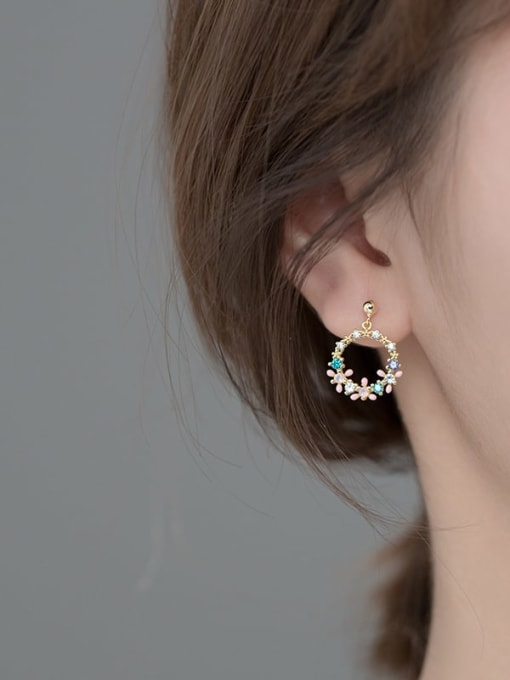 Rosh 925 Sterling Silver Cubic Zirconia Flower Dainty Drop Earring 2