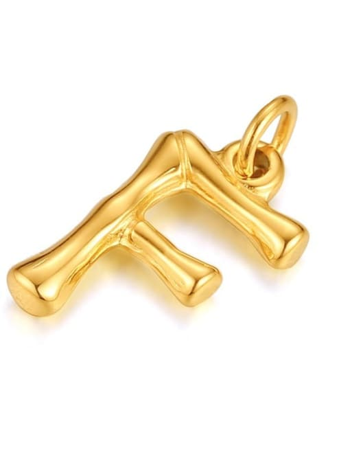 Letter F, without chain Titanium Steel  26 Letter Minimalist  Pendant Necklace