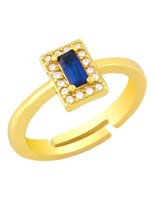 Royal Blue Brass Cubic Zirconia Geometric Minimalist Band Ring