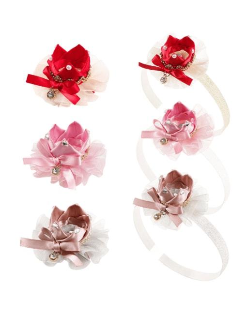 YOKI KIDS Alloy Yarn Cute Flower  Multi Color Hair Headband 1