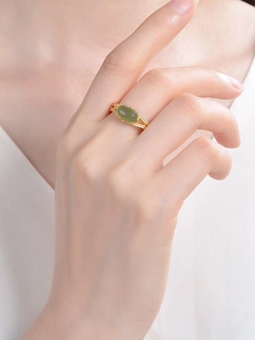DEER 925 Sterling Silver Jade Geometric Vintage Band Ring 2
