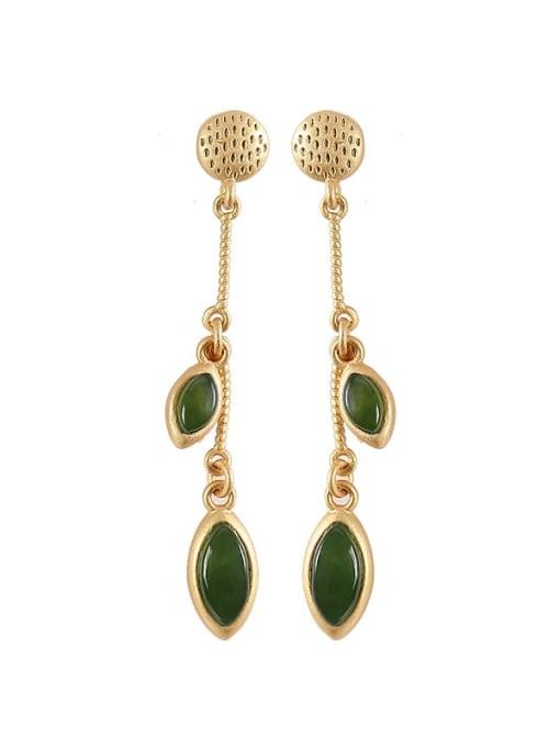 DEER 925 Sterling Silver Jade Geometric Ethnic Drop Earring 3