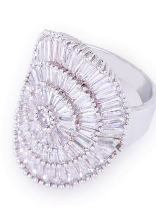 CC Brass Cubic Zirconia Geometric Luxury Band Ring 2