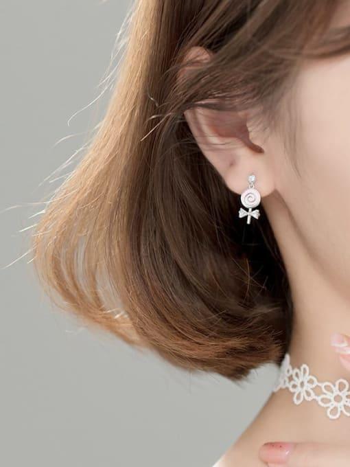 Rosh 925 Sterling Silver Enamel Lollipop bow Trend Stud Earring 3