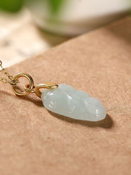 DEER 925 Sterling Silver Jade Leaf  Minimalist Pendant 1