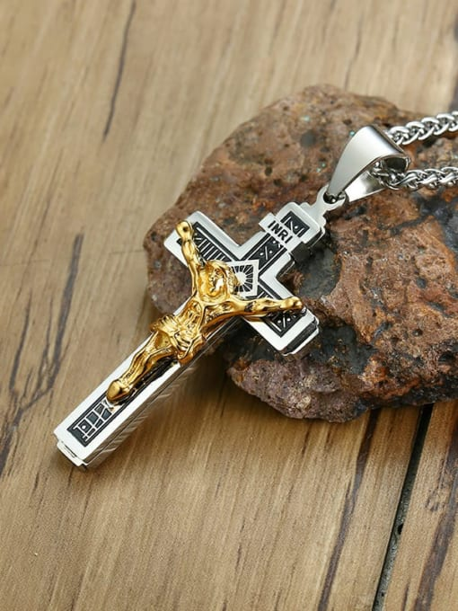 CONG Stainless steel Cross Vintage Regligious Necklace 2