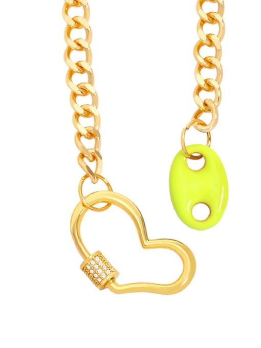 yellow Brass Enamel Heart Hip Hop Hollow Chain Necklace