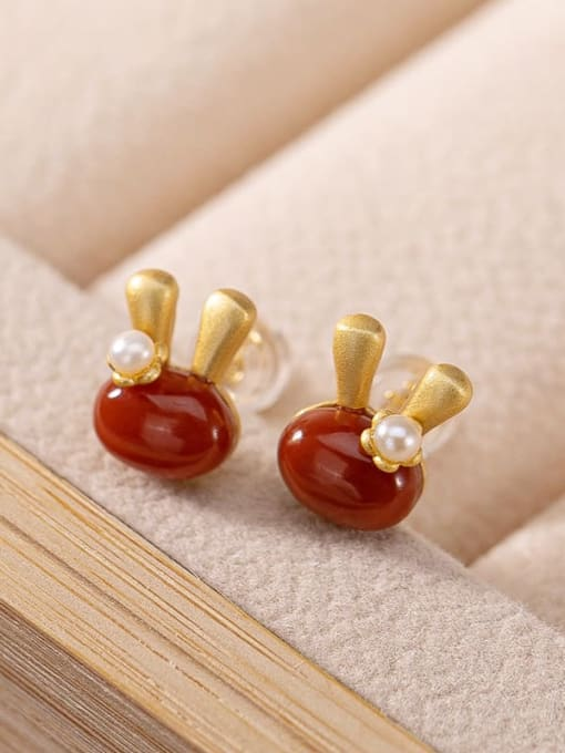 South Red Gold Plated 925 Sterling Silver Carnelian Irregular Vintage  rabbit Stud Earring