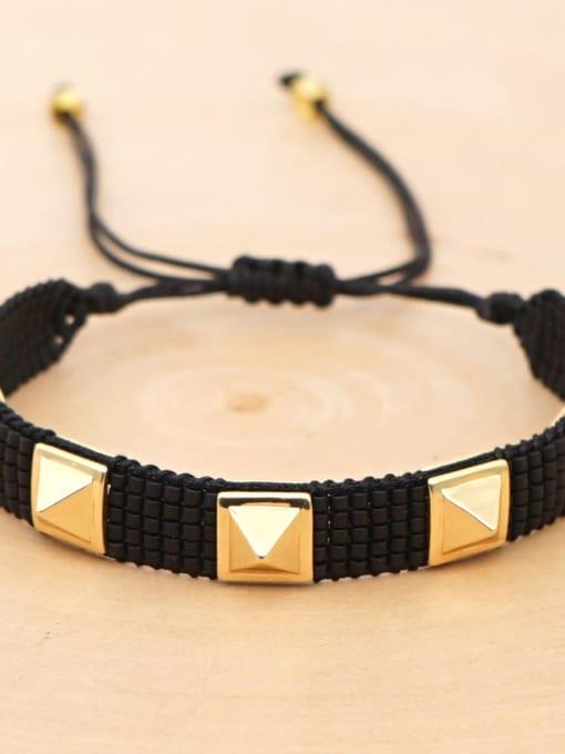 MI B190572E Multi Color Geometric Miyuki DB Bead Bohemia Handmade Weave Bracelet