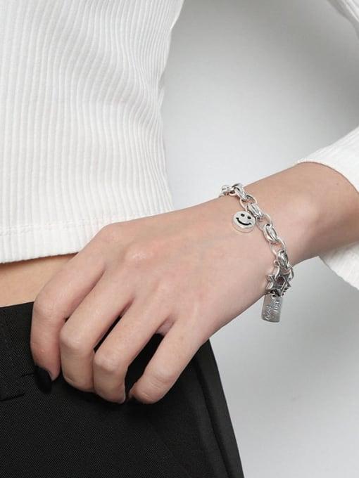DAKA 925 Sterling Silver Smiley Chain Vintage  Link Bracelet 2