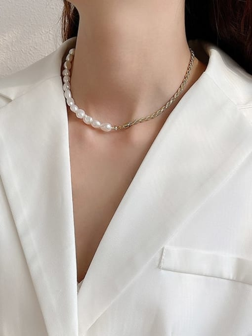 Boomer Cat 925 Sterling Silver Freshwater Pearl Irregular Vintage Necklace 3