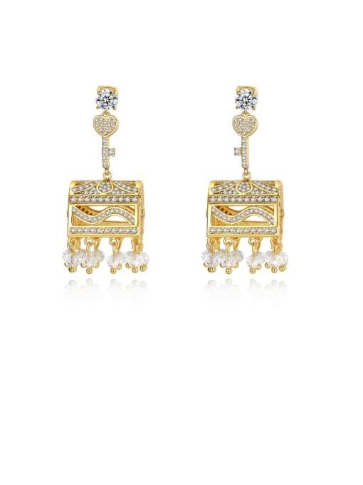 BLING SU Brass Cubic Zirconia Geometric Luxury Drop Earring