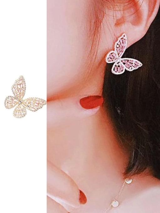 Luxu Brass Cubic Zirconia Butterfly Statement Cluster Earring 2