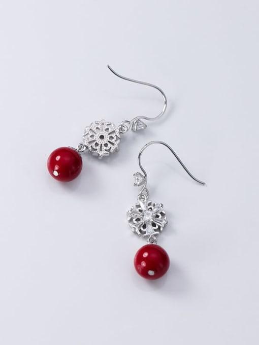 Rosh 925 Sterling Silver Imitation Pearl Flower Artisan Hook Earring 2