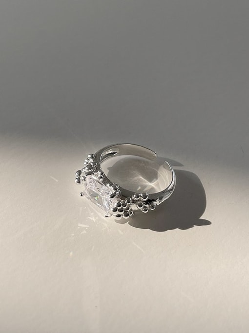 Square diamond foam ring j1565 4.2g 925 Sterling Silver Irregular Vintage Band Ring