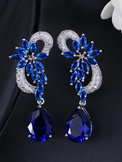 Earpin blue Brass Cubic Zirconia Flower Luxury Drop Earring