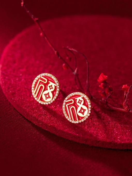 Rosh 925 Sterling Silver Cubic Zirconia Enamel Round Ethnic Stud Earring