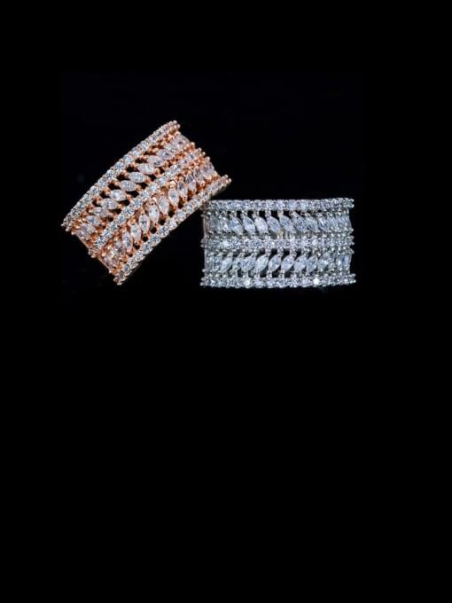 L.WIN Brass Cubic Zirconia Geometric Luxury Statement Ring 3