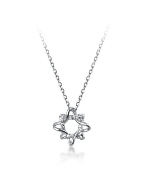 Rosh 925 Sterling Silver Rhinestone Flower Minimalist Necklace 4